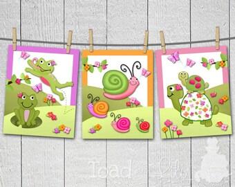 Set of 3 Girly Pond Critters Girls Bedroom Kids Bathroom Baby Nursery 8 x 10 Wall ART PRINTS