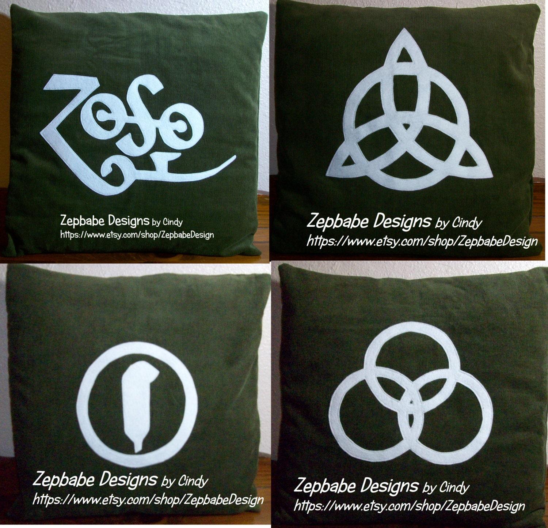 Led zeppelin four symbols dark green pillow case set description led zeppelin biocorpaavc Gallery