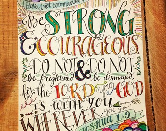 Bible verse print - hand drawn, Joshua 1:9 colorful