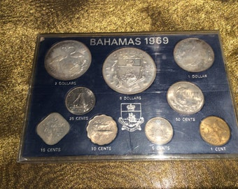 Bahamas Coin Set 1969 Silver UNC 9 Coins Elizabeth II Cents - Dollars - Rare