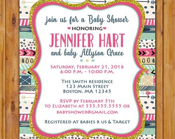 Aztec Tribal Baby Shower Invite It's a Girl Pink Blue Gold Invitation Printable 5x7 Digital JPG File (559)