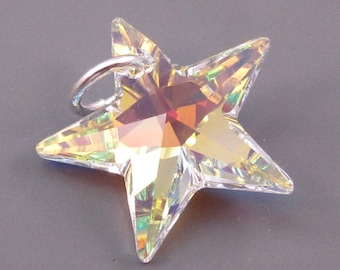 Star Charm Swarovski AB Crystal Star Charm, Swarovski Star Pendant, Necklace Pendant with Sterling Silver Jump Ring
