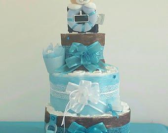 beautiful blue boy diaper cake