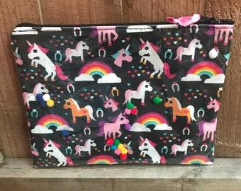 Rainbow Unicorn Make up Zipper Pouch Pencil Case Storage Bag