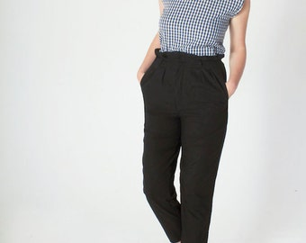 Cropped Sleeveless Shirt - Blue Gingham - Organic Cotton - Fairtrade Clothing - Check Blouse - Gingham Blouse - Scoop Neck