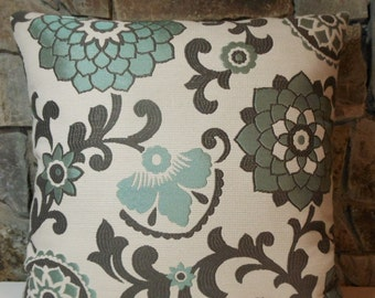 "Aurita Jacquard Pillow Cover//Aqua Brown Floral Pillow//20"" Custom Pillow Cover"