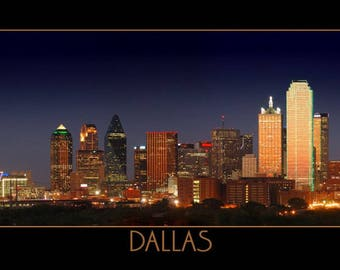 CANVAS Dallas Skyline at DUSK Panoramic Print Panorama Photo Picture