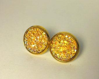 12mm  druzy earrings in gold settings settings