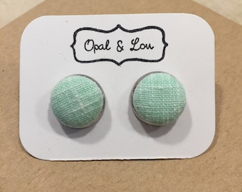 Mint Green Fabric Button Earrings