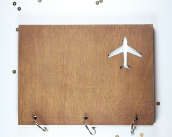"6"" X 8""  wood airplane travel journal/ mini album"