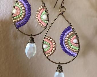 Purple rainbow earrings