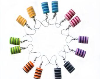 Striped felt earrings, Earrings of felt, earrings made of felt, textile earrings, Earrings made of fabric