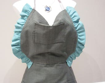 Green Eco Friendly Hemp Apron with Cotton Frills