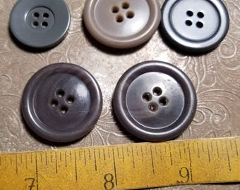 Mix of large miscellaneous grey sewing buttons
