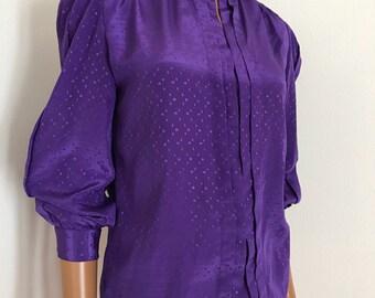 DVF Diane Von Furstenberg Purple Satin Blouse Size S