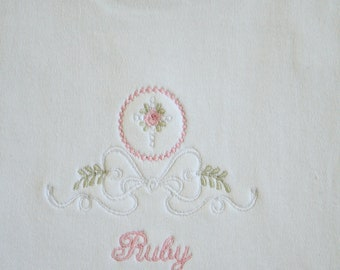 Personalized Embroidered  Bib with Heirloom design