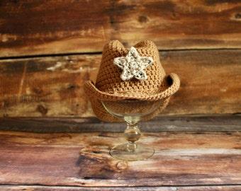 Tan - sombrero de vaquera con estrellas extraíble - bebé recién nacido foto apoyo infantil niño niño cumpleaños regalo tan marrón beige punto sombrero de vaquero