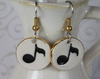 Music Notes Porcelain Ceramic Dangle Earrings