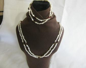 Vintage Seed Pearl Necklace and Bracelet Set