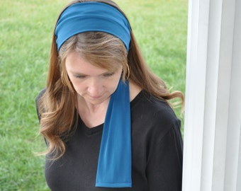 Women's Aqua Blue Stretch Hair Wrap, Headband, Head scarf, Hair Tie, Headcovering, Head Covering, hair scarf, handmade gift, headscarf