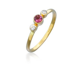 14k Gold Ring Tourmaline Ring with Diamonds - Alternative Engagement Ring - Promise Ring for Her - Pink Tourmaline Diamond Ring