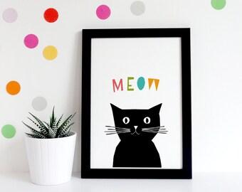 Nursery Prints, Black Cat Print, Cat Lover Gift