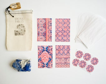Vintage Indian Block Print Mini Card Set, Pink Damask Prints, Stationery Set, Gift Tag, Hostess Gift, Place Cards, Gift Under 20