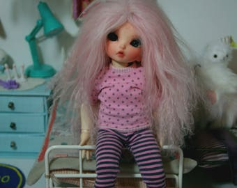 T-shirt and leggings pajama for YoSD LittleFee striped and dotted pink x grey