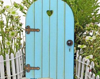 Fairy Door fairy garden miniature accessories wood light robinu0027s egg blue color accessory handmade beach door & Fairy Door fairy garden miniature wood bright azalea pink with