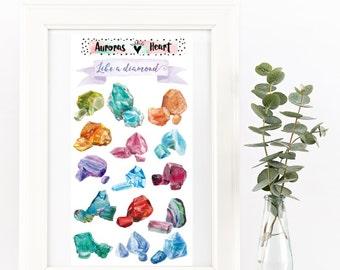 Boho gemstones diamonds watercolor planner stickers