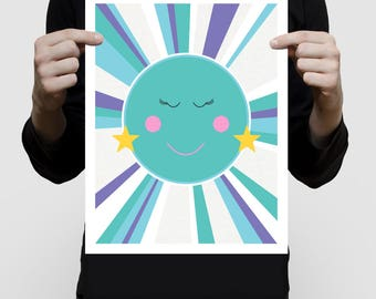 girls space themed nursery art print, children's room print, nursery prints for girls, turquoise artwork, baby girl print, girl in the moon