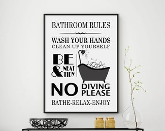 Bathroom rules, bathroom print, bathroom decor, bathroom sign, bathroom rules sign, bathroom wall decor, funny bathroom art, DIGITAL FILES