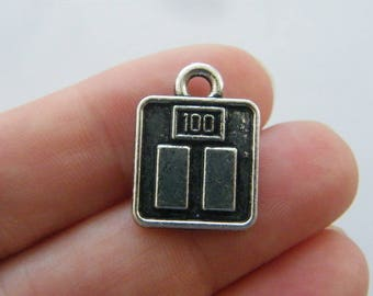 2 Scale charms antique silver tone P200