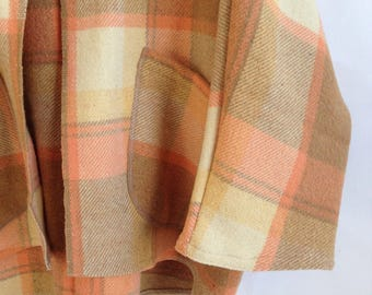 ON SALE Woollen Windcheater Womens Cardigan Ketigan in coffee and peach check Wool Long Style Dipped Hem medium regular size