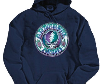 Grateful Dead Hoodie- Steal Your Face with 13 point lightning Bolt - on Navy Heavyweight Sweatshirt/Stealie
