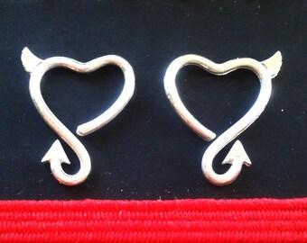 Devil Daith Piercing - Sterling Silver Heart Daith Piercing - Sterling Silver Cartilage - Rook Piercing - Devil Stud - Multiple Piercing