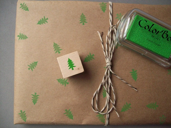 Mini Christmas Tree Rubber Stamp , Christmas , Winter , Pine Tree , Evergreen