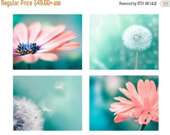 ON SALE nature photography dandelion botanical photography floral set 8x10 11x14 fine art photography flower pink peach dandelion decor wall