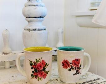 Set of 2 shabby rose flower vase- Small window pots-Desk pencil holder-Vanity organizer-Make up brush holder