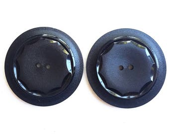 sophisticated large vintage eco friendly black buttons with shiny carved design--matching lot of 2