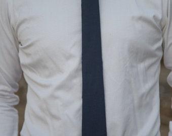 Navy Blue Linen Skinny Necktie