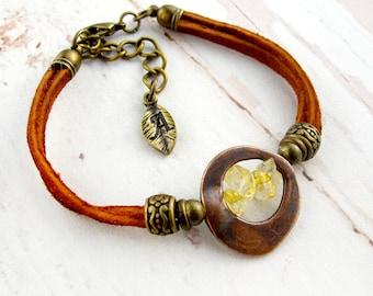 November Birthstone-Raw Citrine-November Birthstone Bracelets-Raw Stone-Birthstone Jewelry-Citrine Bracelet-November Birthday-Gift for Her