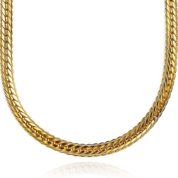 Heavy Mens Womens 18K REAL SOLID Gold FILLED Chain Finish Necklace