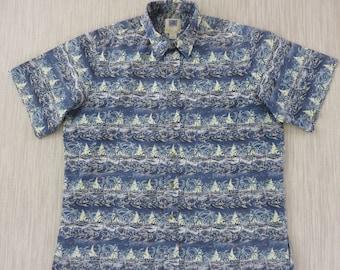 Hawaiian Shirt KAHALA AVi Collection Funky Fish Tropical Island Paradise Sailboats Mens 100% Cotton Camp - XL - Oahu Lew's Shirt Shack