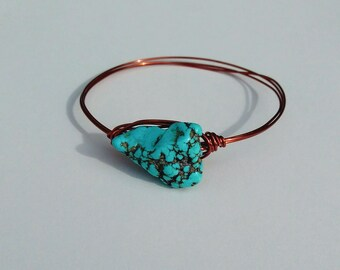 Turquoise Howlite Copper Bangle Bracelet
