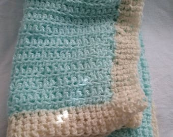 Pastel Green and Yellow Crochet Afghan, Baby Blanket, Crochet Baby Afghan, Baby Shower Gift, Medium Weight Acrylic Blend Yarn