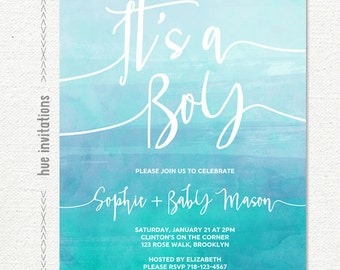 it's a boy baby shower invitation, blue watercolor painted ombre turquoise aqua baby blue customized printable digital invitation file
