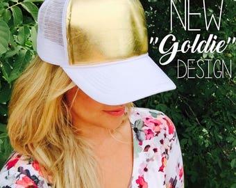 gold fashion, gold, gold hat, gold trucker hat, cute trucker hat, trucker hat, womens hat, womens trucker hat, kids trucker hat, gift