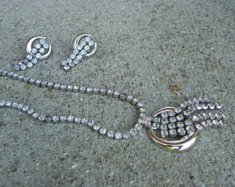 Vintage Clear Rhinestone and Silver Necklace and Screw Back Earrings
