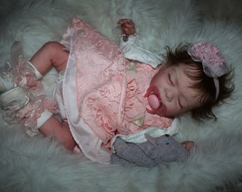 "Lifelike Reborn Baby Doll Realistic Sleeping Baby Girl One of a Kind Reborn Babies ""Peaches"" Ready to Ship!!"